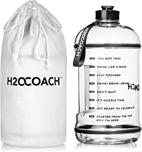H2OCOACH 1 Gallon Sports Water Bottle with Time Marker | Motivational 3.79 Liters, Reusable BPA Free Jug (128 oz)