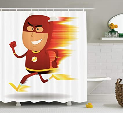 Ambesonne Superhero Shower Curtain Set, Lightning Bolt Man with Cape and  Mask Fast as Light Fun Cartoon Character Art Print Fabric Bathroom Decor  with