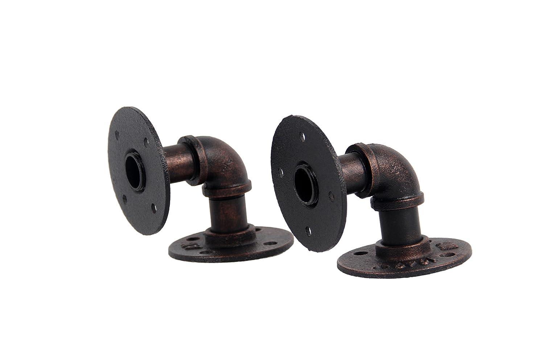 8x8CM, Black Finish Shelf Brackets,GoYonder Industrial Pipe Floating Shelf Brackets Wall Mounted Pipe Brackets for Steampunk Home Decor,2 Pack