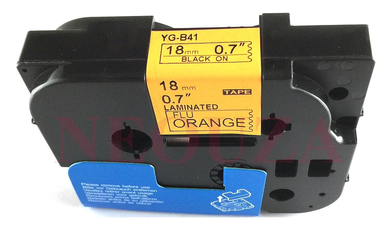 Leuchtend Logic-Seek Schriftband kompatibel f/ür Brother TZE-B41 18mm//8m Schwarz auf Orange