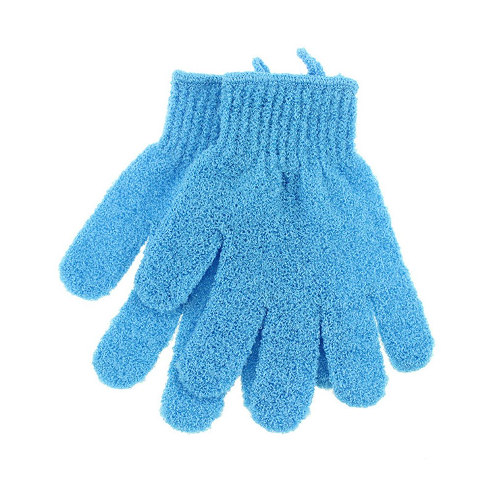 Frcolor Bath Exfoliating Five Fingers Glove Shower Sauna Scrubber Mitt for Men Women(Blue), 1 Pair
