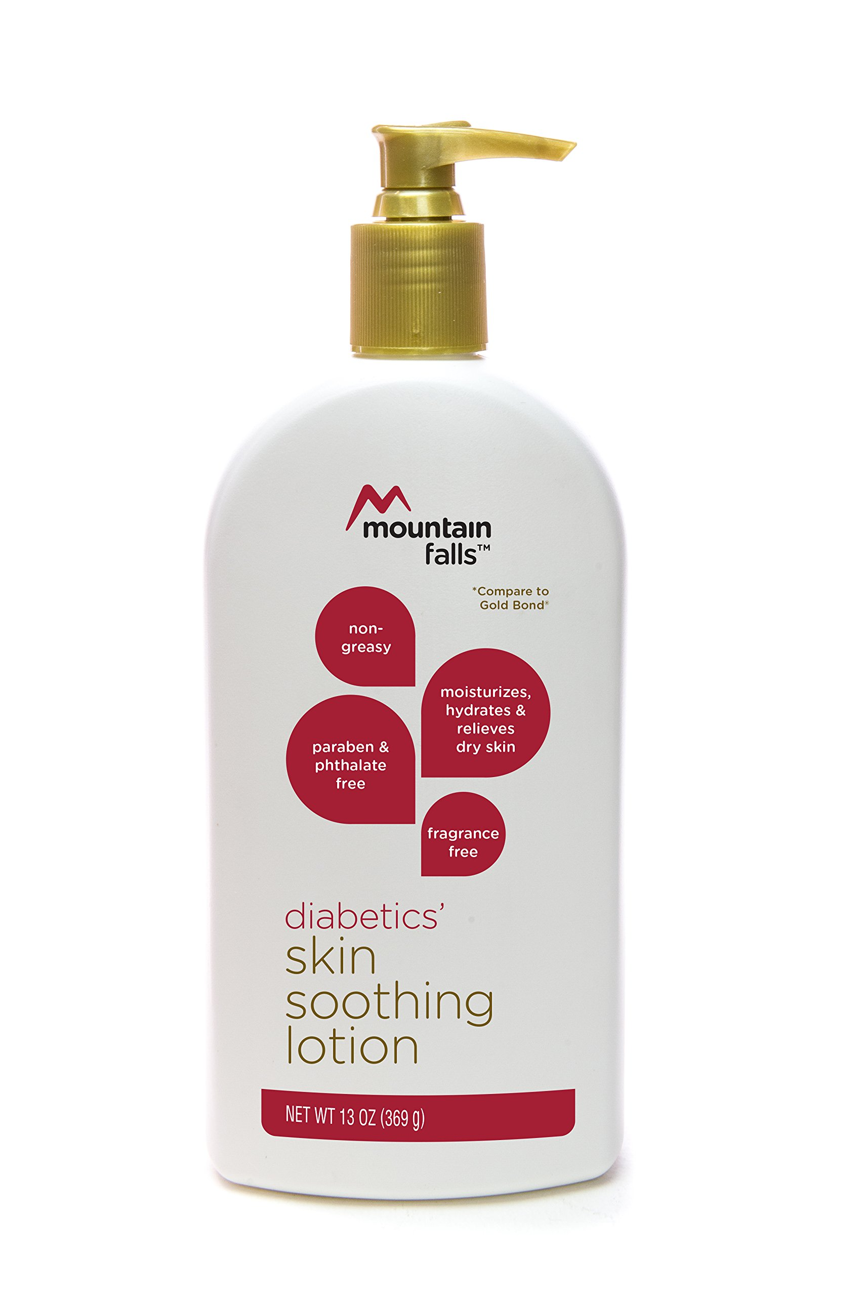 Mountain Falls Moisturizing Diabetics' Skin Soothing Lotion for Dry Skin, Fragrance-free, Non-greasy, Compare to Gold Bond, 13 Ounce
