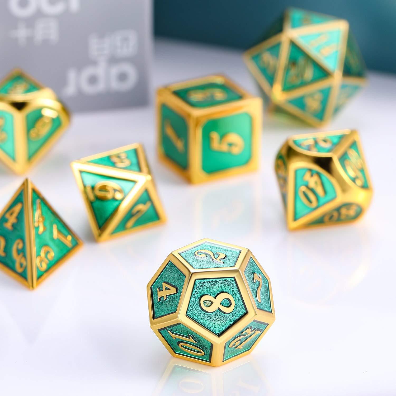 TecUnite Alliage de Zinc D/és Poly/édriques 7 D/és Znalloy Brillant en Argent /Émail Noir Set M/étal Jeu de R/ôle M/étal Jeu de D/és Set Donjons Dragons RPG Jeu de D/és D /& D Enseignement des Math/&eacut