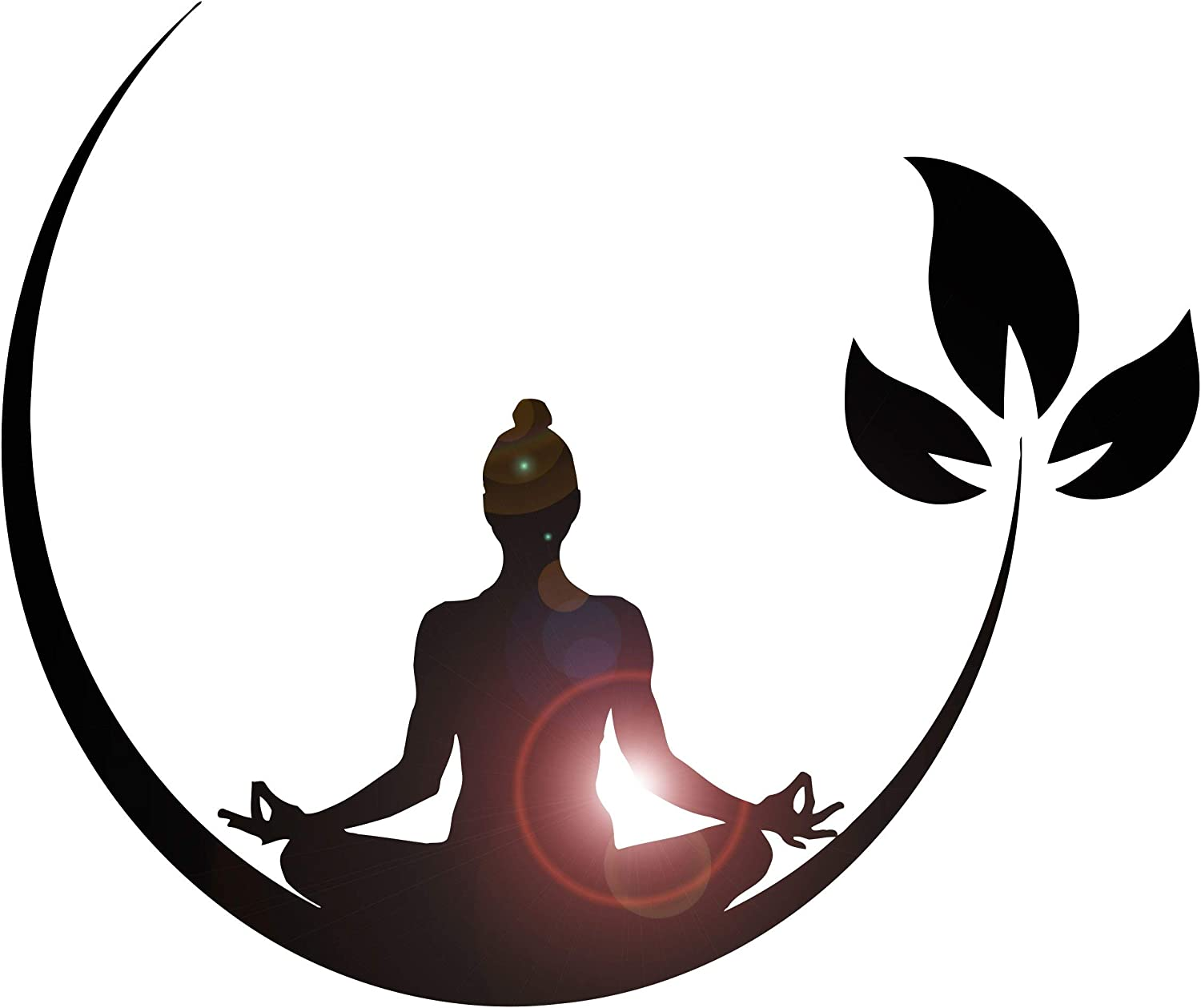 Vinyl Wall Decal Yoga Meditation Room Buddhist Zen Stickers (ig4132) Black