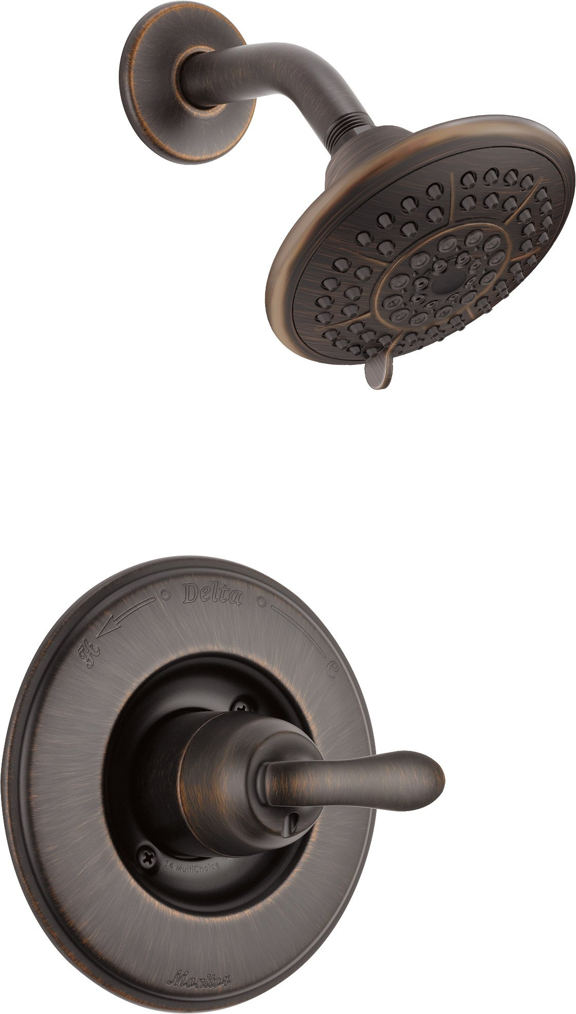 Delta Linden 14 Series Single-Function Shower Trim Kit with 5-Spray Touch Clean Shower Head, Venetian Bronze T14294-RB (Valve Not Included) by DELTA FAUCET