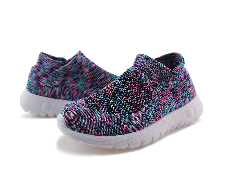 Jabasic Kids Walking Shoes Boys Girls Breathable Slip On Knit Sock Sneakers (Multicolor,1) by Jabasic (Image #4)