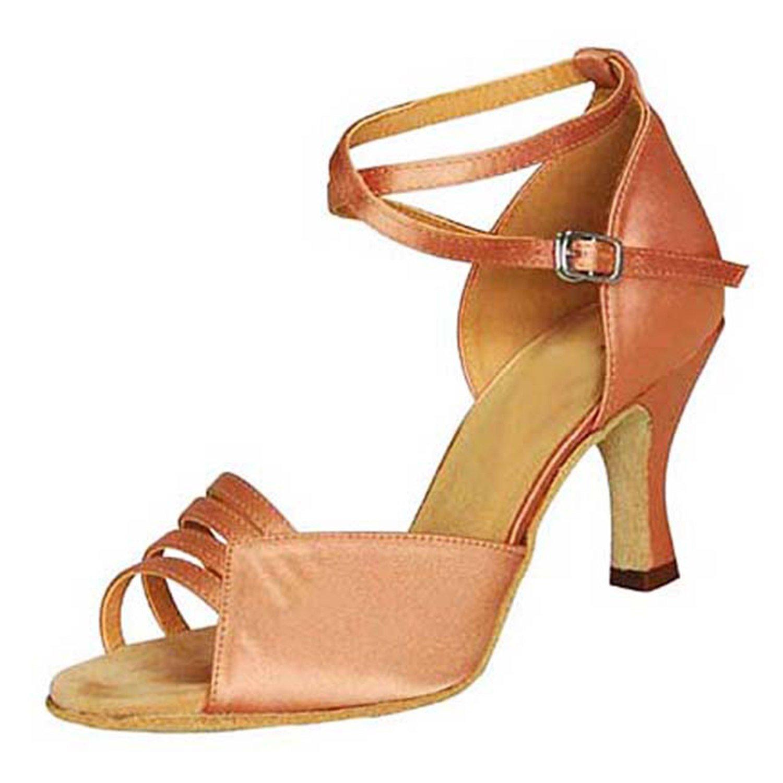 - YFF Cadeaux femmes Dance danse danse latine Dance Tango chaussures 7.5CM,Apricot Couleur,42