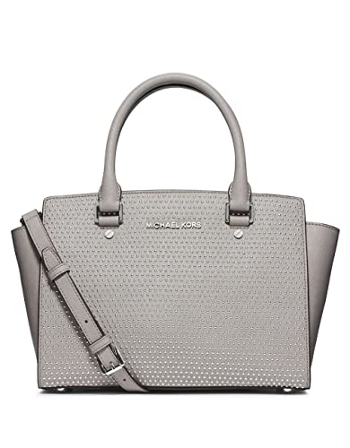 Image Unavailable. Image not available for. Color  Michael Kors Micro Stud  Selma Md Satchel Pearl Grey Leather ed8aa36dd4