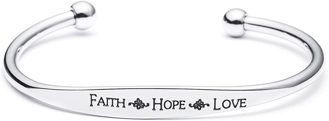 Simple Silver Faith Hope Love Engraving Vintage Brass Classic Bangle Fashion Jewelry for Women Man
