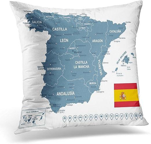 Funda de almohada con diseño de mapamundi de Cataluña de España ...