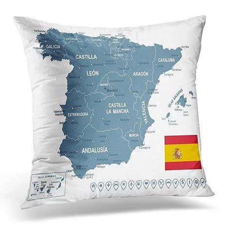 Funda de almohada con diseño de mapamundi de Cataluña de ...