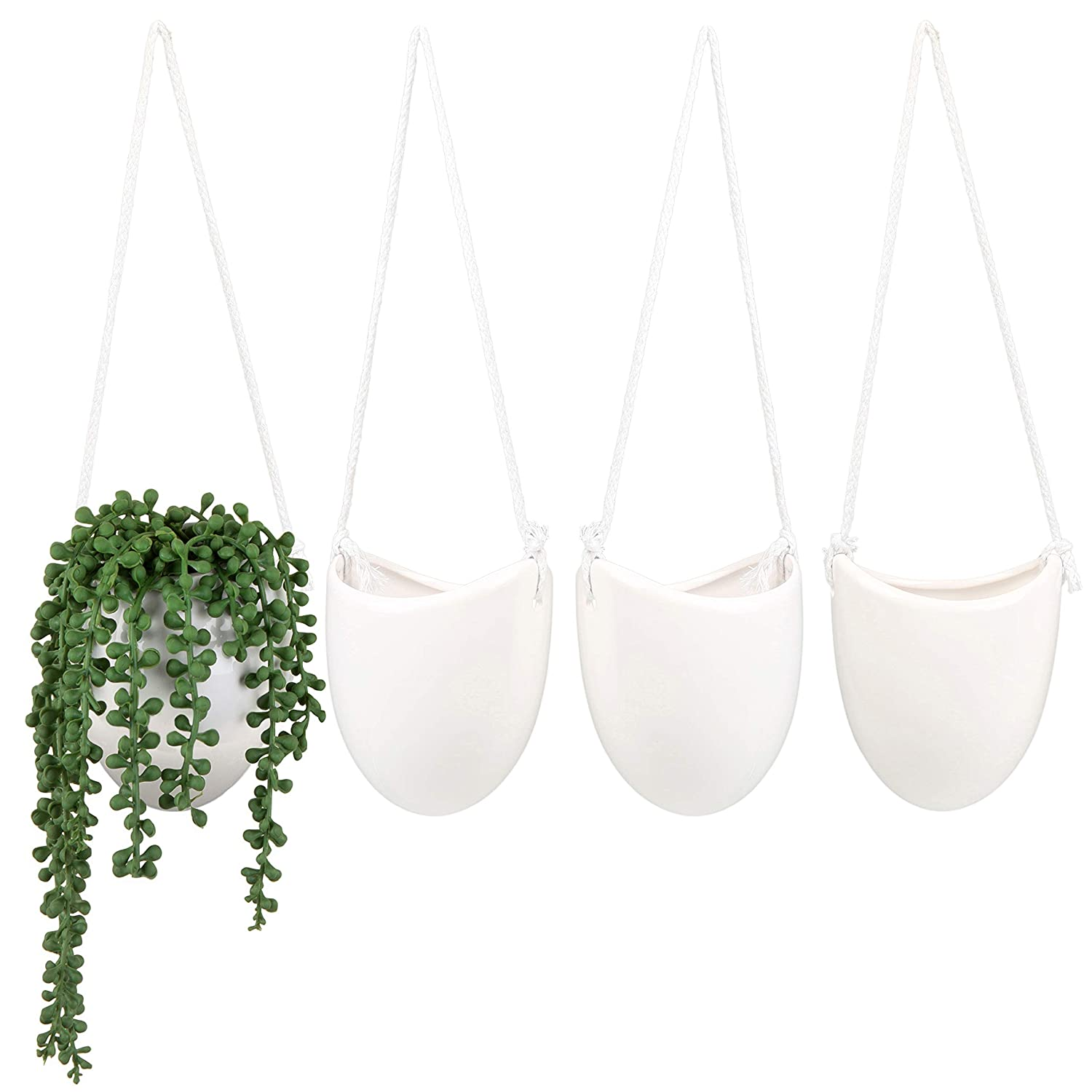 MyGift Decorative White Ceramic Wall-Hanging 5-Inch Pots for Succulent Plants, Set of 4