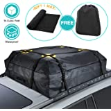 "MODOKIT Car Cargo Roof Bag Bundle- 100% Waterproof Roof Top Cargo Bag for Vehicles with Rack Crossbars + Non Slip Protective Roof Mat & Storage Bag, Heavy Duty Roof Cargo Bag 15 Cubic Ft(44"" 34"" 17"")"