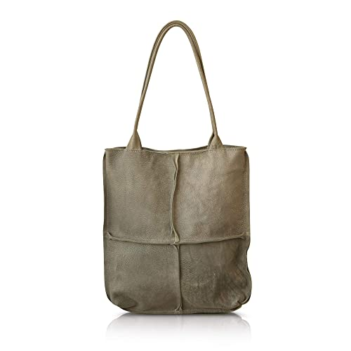 fe3fea2b5bb2 Amazon.com  Extra large durable leather Grey tote shoulder bag for women