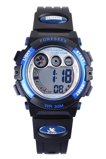 FSX-555G Reloj digital niñas resistente al agua LED reloj de muñeca (azul)