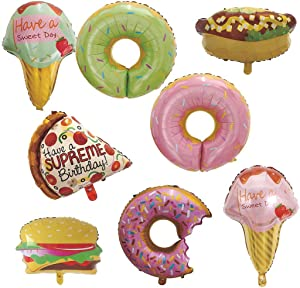 Yummy Donut Foil Balloons Ice Cream Doughnut Dessert Pizza Hot Dogs Burger Food Aluminum Mylar Balloons for Wedding Birthday Baby Shower Party Decorations Pack 8pcs