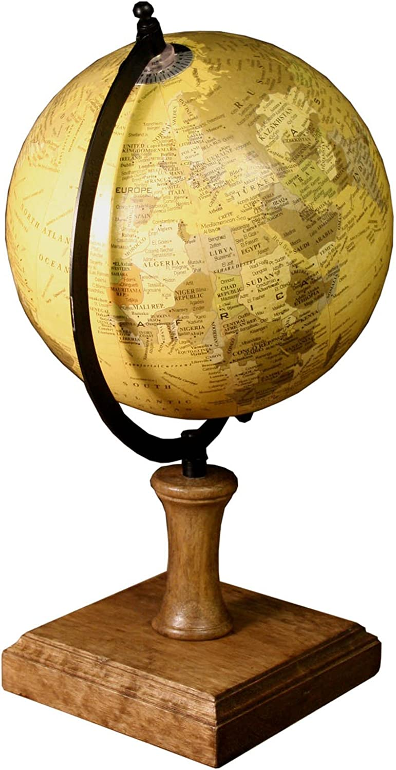 Antiqued Style Globe On Wooden Stand