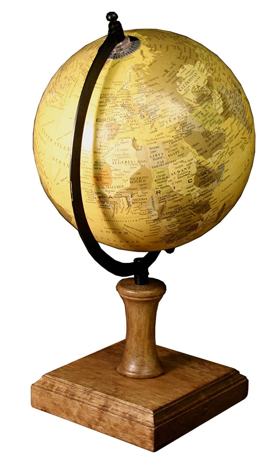 Antiqued Style Globe On Wooden Stand marymarygardens .