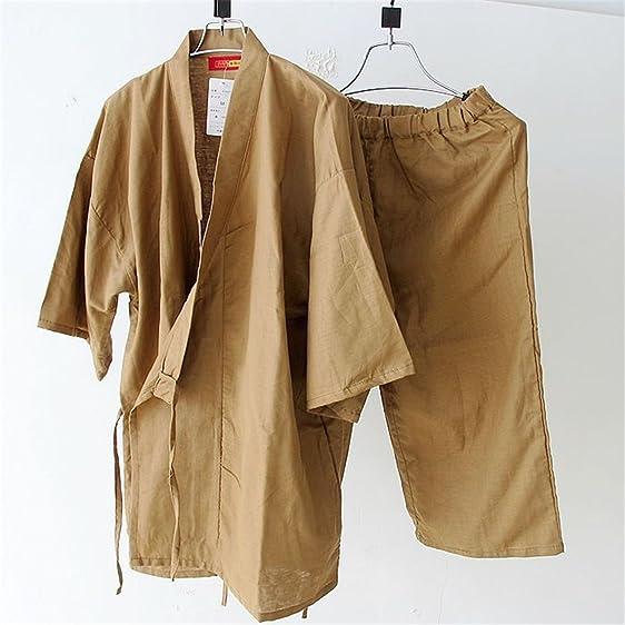 Michael Stevenson Summer Short Sleeve Pyjamas Set MenS Simple Japanese Kimono Pajama Cotton Yukata Sleepwear Robe