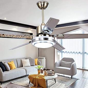 5 lames télécommande ventilateur de plafond 3 lumière dimmable rotation inverse en acier inoxydable LED ventilateur plafonnier intérieur muet économie