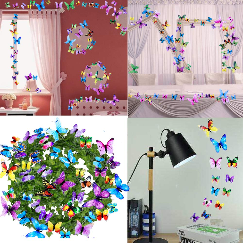 Wall Decals Butterfly 3D Sticker Decor - 72PCS Home Decoration for Living Room, Kids and Teen Girls Removable Mural Wall Art, Baby Nursery Bedroom Bathroom, Waterproof DIY Crafts by Ewong (Image #4)