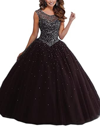 e122d4cced8 Mollybridal Quinceanera Dress Evening Gowns with Sleeves Tulle Sequin Beads  Long Keyhole Back Black 2