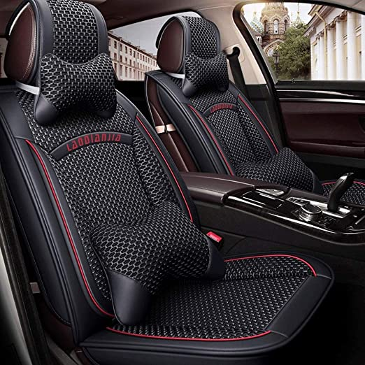 2 BLACK GREY FRONT CAR SEAT COVERS PROTECTORS FOR FIAT BRAVO