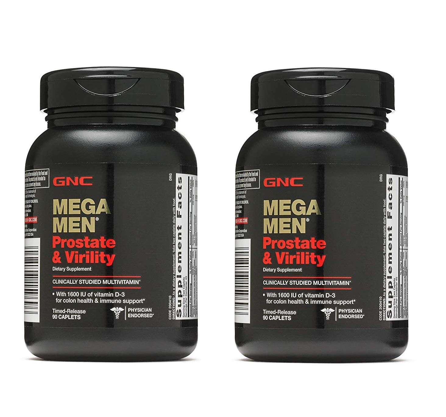 GNC Mega Men Prostate and Virility Multivitamin with Saw Palmetto Lycopene (2 Pack - 180 CAPLETS)