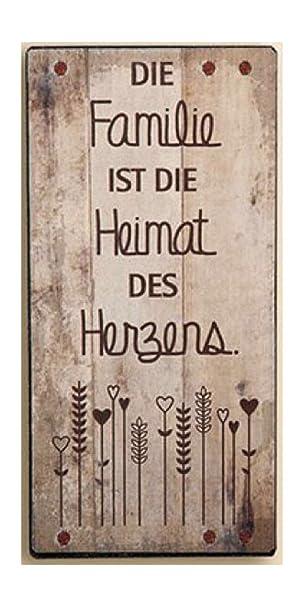 GILDE Schild aus Metall, Weisheit Zuhause/Familie, Farbe Creme, Spruch: Die  Familie ist die Heimat des Herzens