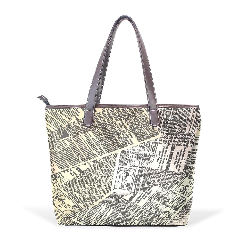 BYouLockX Newspaper Pattern Leather Handbags Satchel ShoulderBag for Women