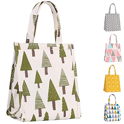 Buringer Insulated Lunch Bag Printed Canvas Fabric Cooler Tote Box Reusable  Lunch Organizer Holder Container for 1707f93ba387f