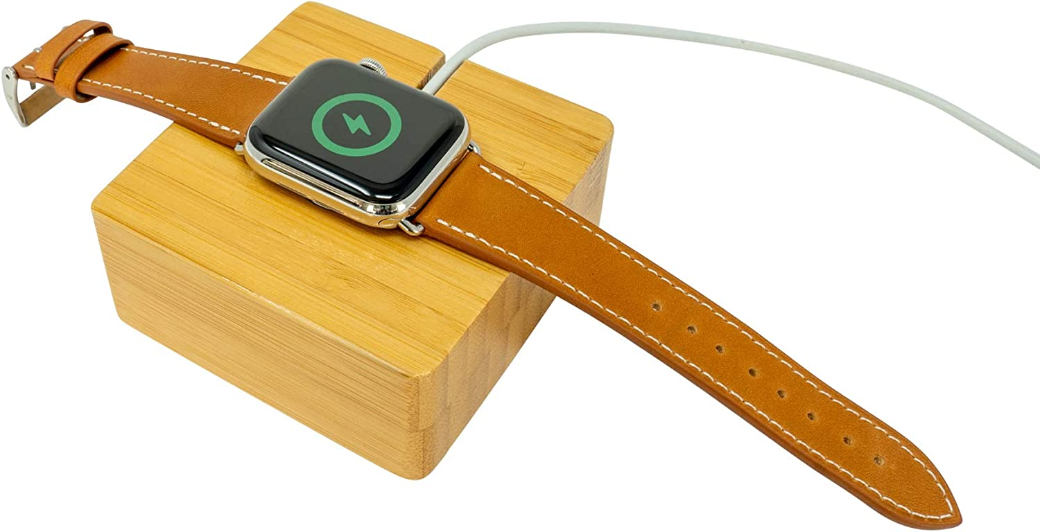 Bamboo Wood Desk Charging Station for Apple Watch - Wood Charging Dock - Nightstand Charging Station for iWatch (Bamboo)