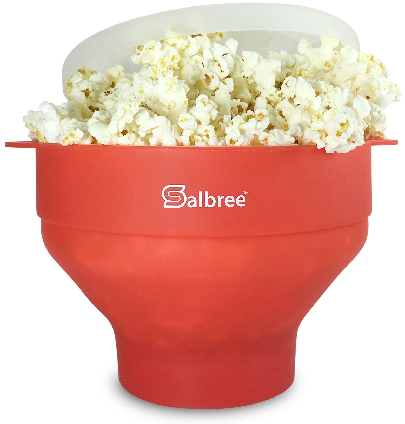 The Original Salbree Microwave Popcorn Popper with Lid, Silicone Popcorn Maker, Collapsible Bowl BPA Free (Red)