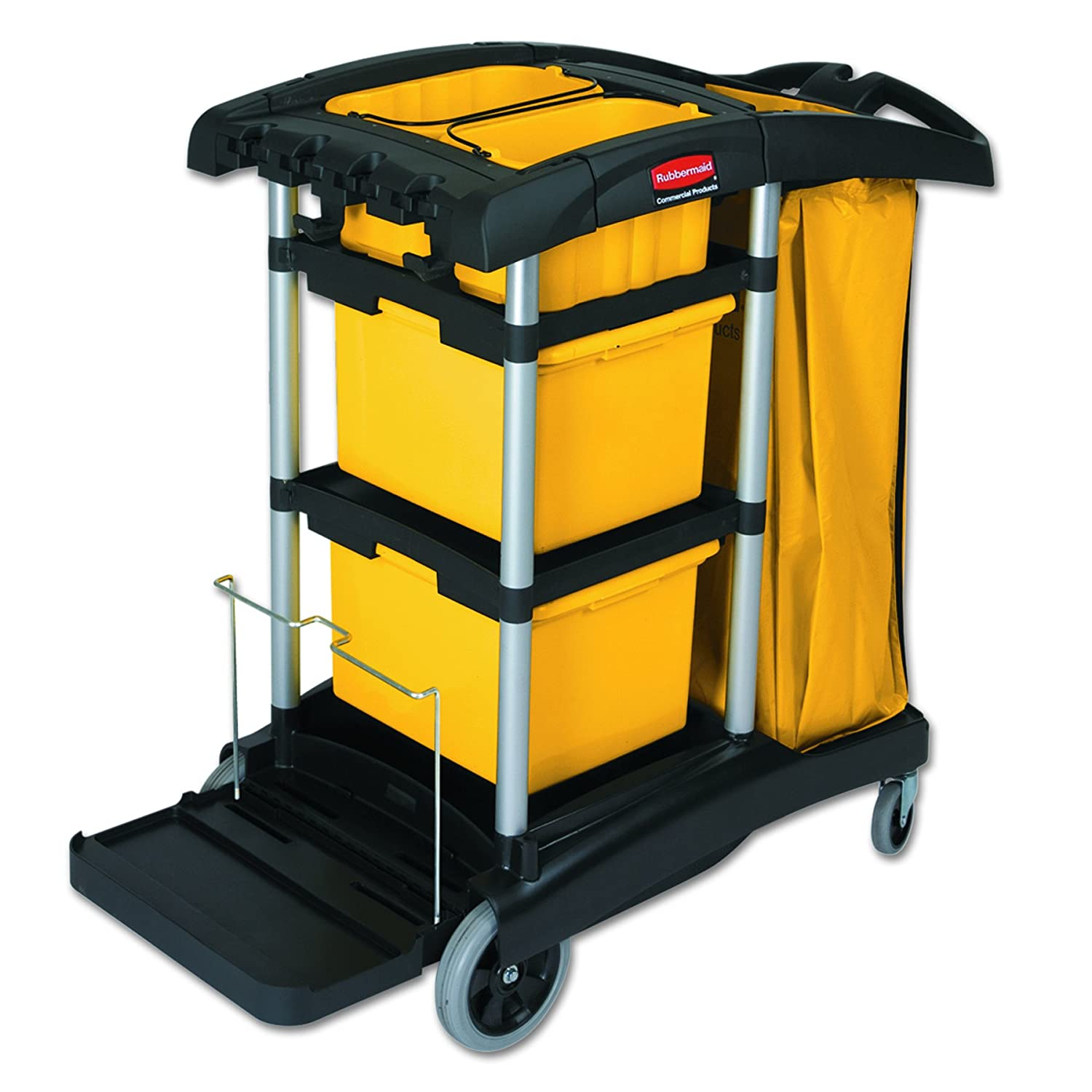 Rubbermaid Commercial Housekeeping Cart with Yellow Bins and Zippered Yellow Bag, Black, FG9T7300BLA