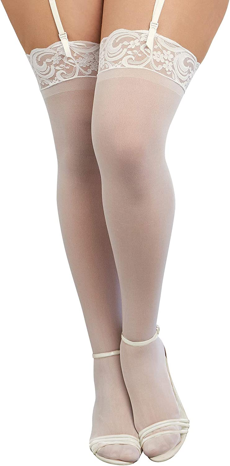 white Dreamgirl Womens Plus-Size Lace Top Sheer Thigh-High Stockings Queen