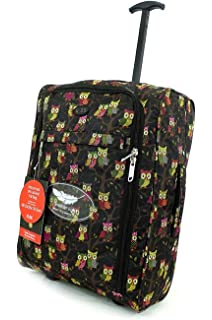 6c274429b73 Lightweight Hand Luggage Wheeled Travel Holdall suitcase Trolley Cabin  Approved (Black with Owls)