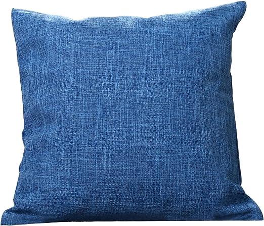 Da.Wa Funda de cojín de Lino y algodón, Fundas de Almohada, Fundas de Almohada, Fundas de Almohada para sofá, Coche, café, decoración sin Relleno de Almohada, algodón, Azul, 45 * 45cm: Amazon.es: