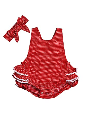 d3f9dd3e5 Amazon.com: Baby Girl Polka Dot Romper Lace Ruffle Dress Summer Clothes  with Headband: Clothing