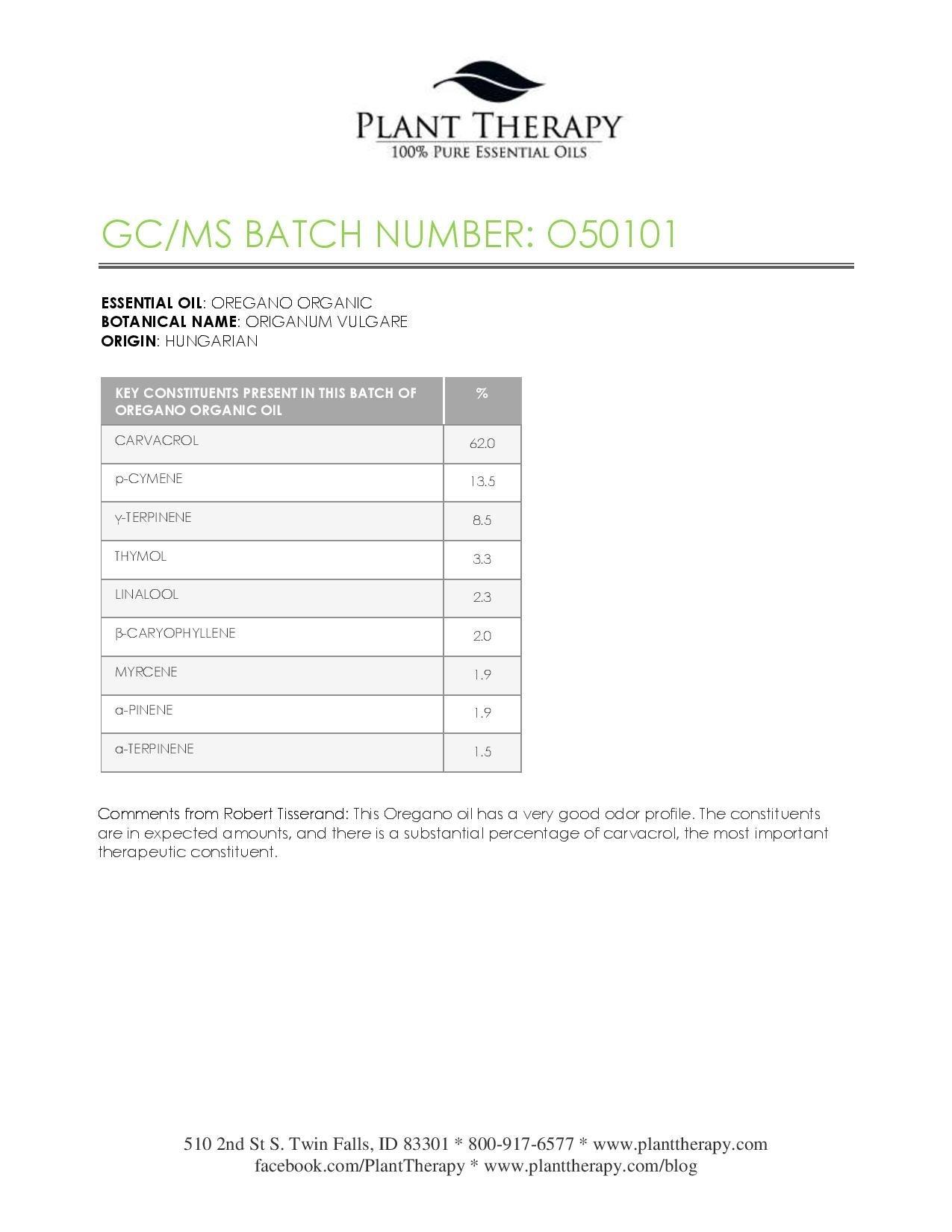 Plant Therapy USDA Certified Organic Oregano Essential Oil. 100% Pure, Undiluted, Therapeutic Grade. 10 ml (1/3 oz).