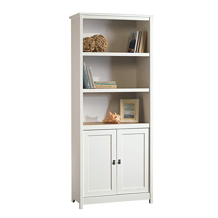 """Sauder 417593 Cottage Road Library with Doors, L: 29.29"""" x W: 13.98"""" x H: 71.50"""", Soft White finish"""