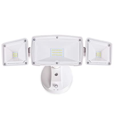 Amico 30W Dusk to Dawn LED Flood Light - 3 Head Security Light Outdoor, Metal Head 5000K Daylight White 3500 Lumens IP65 Waterproof, White Exterior Wall Flood Light Outdoor with Photocell: Home Improvement