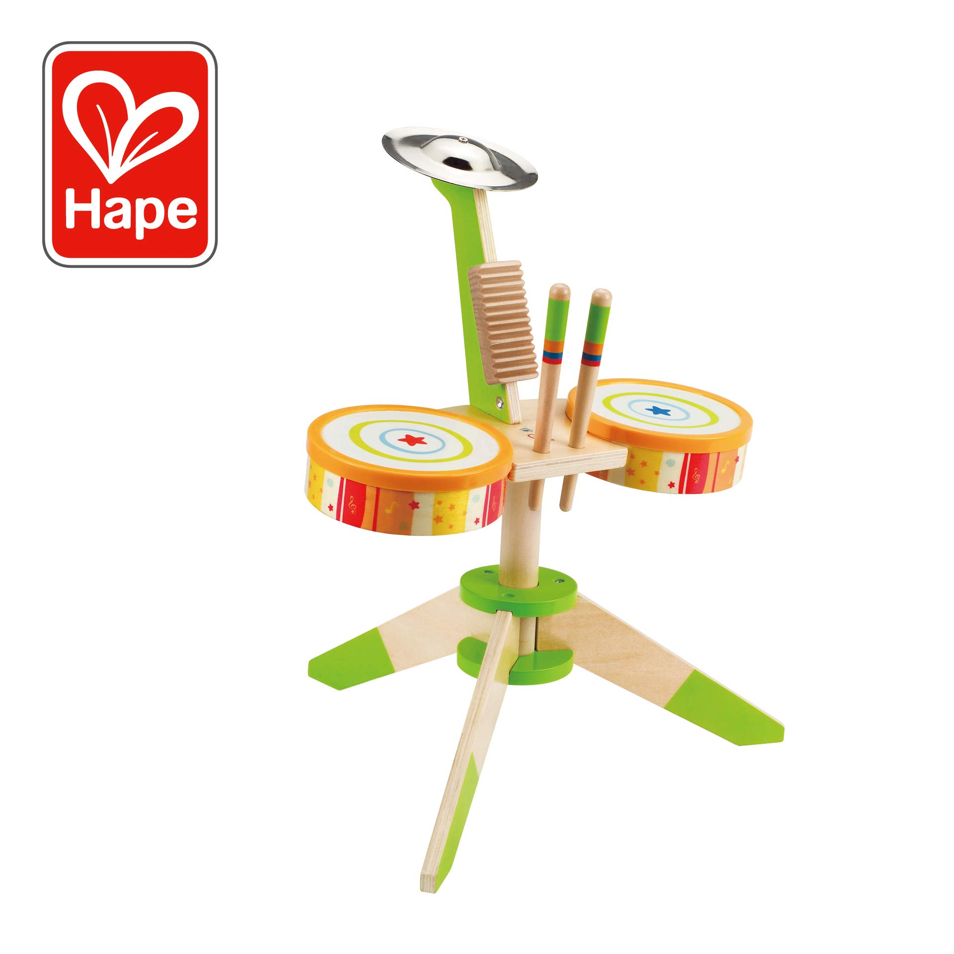 Award Winning Hape Rock and Rhythm Kid's Musical Instruments Wooden Drum Set by Hape