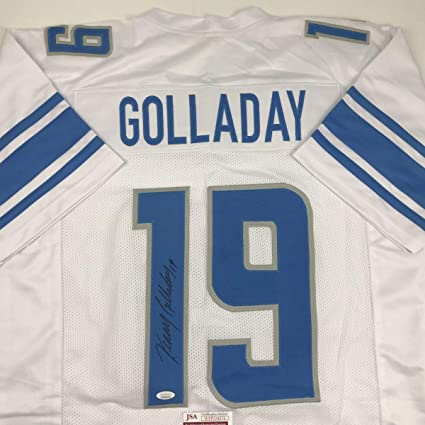timeless design a146a 61abc Autographed/Signed Kenny Golladay Detroit White Football ...