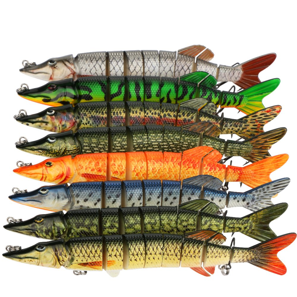 Goture Pike Muskie Multi Jointed Hard Fishing Lure Swimbaits Life-like Baits 8 Segments with Black Treble Hooks for Freshwater Saltwater Fishing (8\'\', 2.36oz)