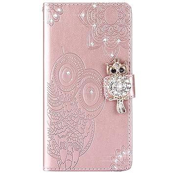 Compatible con Sony Xperia XA Ultra Funda Diamante,Carcasa Xperia XA Ultra Billetera,Oro Rosa Wallet Bling 3D Diamante Búho Flores Diseño Flip Wallet ...