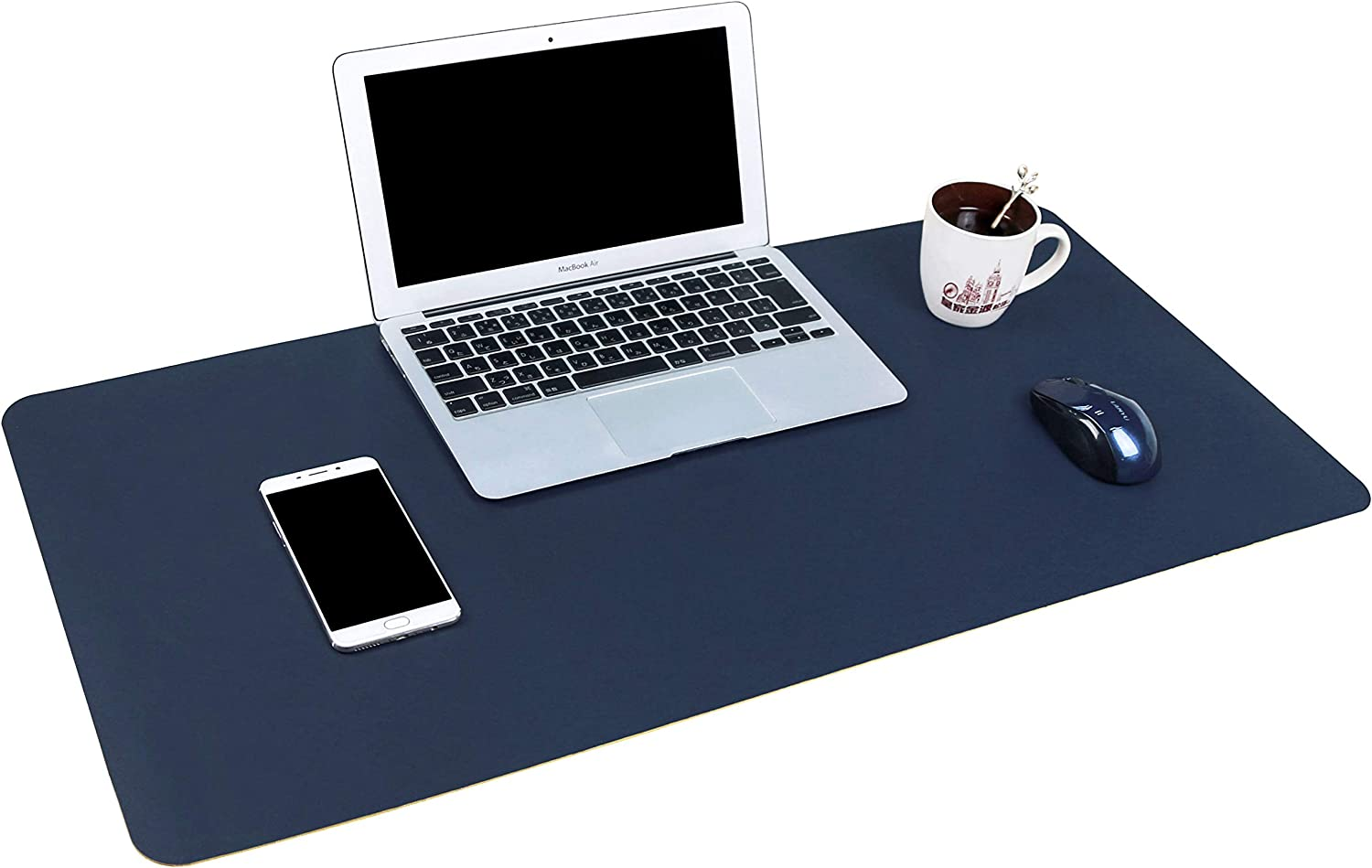 """YSAGi Multifunctional Office Desk Pad, 31.5"""" x 15.7"""" Ultra Thin Waterproof PU Leather Mouse Pad, Dual Use Desk Writing Mat for Office/Home (31.5"""" x 15.7"""", Blue)"""
