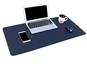 "YSAGi Multifunctional Office Desk Pad, 35.4"" x 17"" Ultra Thin Waterproof PU Leather Mouse Pad, Dual Use Desk Writing Mat for Office/Home (35.4"" x 17"", Blue)"