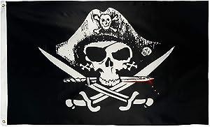 DANF Pirate Deadman's Chest Tricorner Flag Skull and Crossbones Jolly Roger 3 by 5 FT Polyester Flag Banner