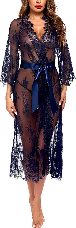 Avidlove Women Sexy Long Lace Lingerie Kimono Robe Sheer Babydoll Nightgown Nightdress at  Women's Clothing store