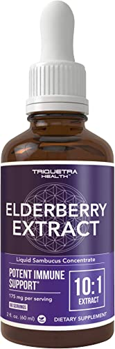 Black Elderberry Syrup Extract 10 1 Extract Extra Strength 60 Servings, Best Value Potent Immune Support – Glass Bottle, Vegan, Rapid Absorption 2 oz.